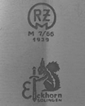 1936-1939: Transitional mark showing both makers mark and RZM code